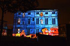 Projections d'images Place du Chapitre Nîmes Noël 2015
