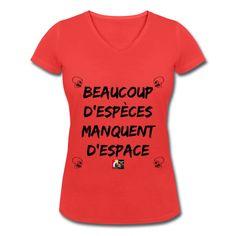 00a9ce9ed7d1c Beaucoup d ESPÈCES manquent d ESPACE   T-shirt bio col V Stanley   Stella  Femme
