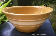 Large Yellow Ware Bowl White Bands