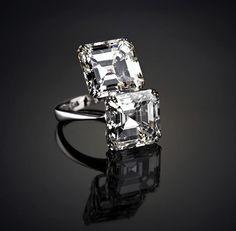 Veschetti - Shiny Stars - Emerald cut diamonds up to 16 carats crossover ring.