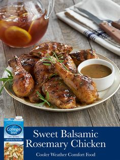 A new year calls for new flavorful dishes your entire family will love. Our Sweet Balsamic Rosemary Chicken, made with College Inn® Chicken Broth, is the perfect meal to spice up your week night dinners this winter. Turkey Recipes, Meat Recipes, Chicken Recipes, Cooking Recipes, Healthy Recipes, Recipies, Rosemary Chicken, Carne, Spice