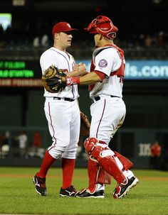 CrowdCam Hot Shot: Washington Nationals starting pitcher Jordan Zimmermann is congratulated by Washington Nationals catcher Wilson Ramos after recording the final out against the Miami Marlins at Nationals Park. Photo by Brad Mills