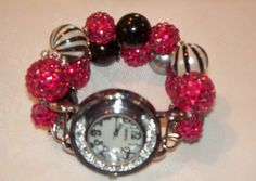 Zebra Stripe and Hot Pink Chunky Beaded Watch Band by BeadsnTime, $30.00
