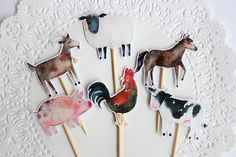 Farm Animal Cupcake Toppers. Farm Theme. Barn Yard Bash. Barn Party. Horse. Goat. Pig. Cow. Rooster. Birthday Party. Baby Shower. Cupcakes by WondrousPaperGoods on Etsy https://www.etsy.com/ca/listing/559527987/farm-animal-cupcake-toppers-farm-theme