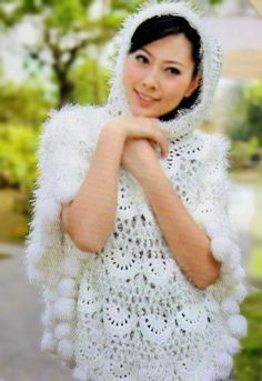 Crochet Shawls: Crochet Patterns Of Beautiful Poncho With Fur For Women