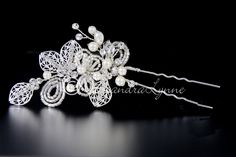 Filigree Wedding Hair Pin With Pearls Beads and Rhinestones
