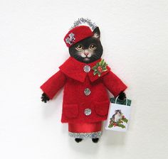 Vintage Style Christmas Ornament HOLIDAY SHOPPING CAT Black Cat with Shopping Bag Handmade by HolidayCat Ornie #8