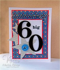 Hand stamped 60th birthday card by Marisa Ritzen using the Tag Time set from Verve. #vervestamps