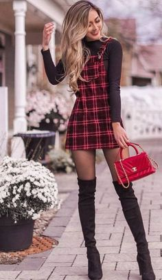 awesome outfit idea to copy right now / plaid sundress black top bag over . - awesome outfit idea to copy right now / plaid sundress black top bag over knee boots Source by - Chic Outfits, Sexy Outfits, Fashion Outfits, Fashion Trends, Fashion Styles, Ootd Fashion, Fashion Ideas, Mini Skirt Dress, Mini Skirts