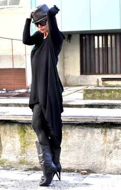 New Collection  Black Loose Tunic Long Sleeves / by EUGfashion