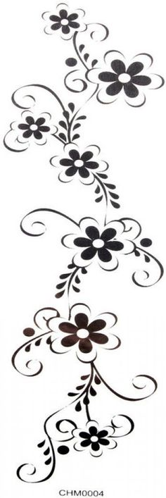 SPESTYLE waterproof non-toxic temporary tattoo stickersCool Waterproof temp tattoos black flowers (waist / chest / back / hand / leg, etc.)