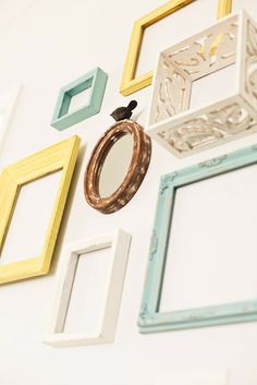 The Green Dresser.: Reusing empty frames for wall art