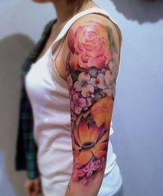 Resultado de imagem para floral sleeve tattoos