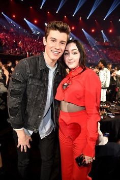 Shawn Mendes with Noah Cyrus today at the iHeartRadio Awards 2017