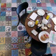 Mismatched moroccan tiles.