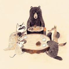 Sigh . . . there is no bunny present in this picture of a woodland friends dinner party by Chuck Groenink.