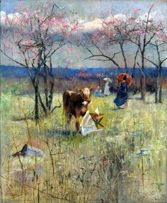 """ An Early Taste for Literature Charles Conder (English-born Australian, Oil on canvas. An Early Taste for Literature, in which a calf can be seen chomping into the newspaper left by. Australian Painting, Australian Artists, Charles Edward, Hans Thoma, Art Occidental, Romantic Nature, Western Art, Oeuvre D'art, Landscape Paintings"
