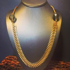 Ambrosia Necklace - Smoky citrine topaz stones accented with fishtail chain - $88.00