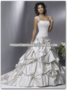 Ball Gown Lace Satin Draped Wedding Dress on sale, a perfect Ball Gown Wedding Dresses with high quality and nice design. Buy it now or discover your Ball Gown Wedding Dresses Wedding Dresses With Straps, Wedding Dress Train, Best Wedding Dresses, Cheap Wedding Dress, Gown Wedding, Lace Wedding, Modest Wedding, Floral Wedding, Wedding Vintage