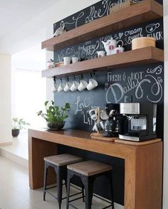 Coffee Bars In Kitchen, Coffee Bar Home, Home Coffee Stations, Breakfast Bar Kitchen, Coffee Shop, Breakfast Bars, Coffee Maker, Beverage Stations, Breakfast Nooks