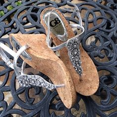 Gianni Bini silver wedge Beautiful silver shoes.  Never worn.  3.5 in at highest Gianni Bini Shoes Sandals