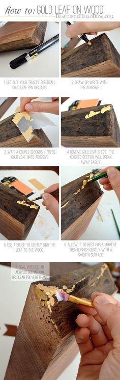 gold leaf DIY : Beautiful Hello Blog                                                                                                                                                                                 More