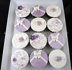 Mauve Cupcakes- bows, roses and stenciling.