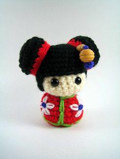 Chibi Kokeshi Doll, amigurumi #crochet