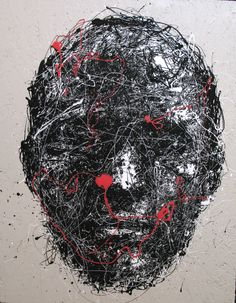 Abstract Drip Painting Black and White and Red by Craig Paul Nowak Drip Painting, Abstract Portrait, Jackson Pollock, Pictures To Paint, Black And White, Artist, Paintings, Image, Red