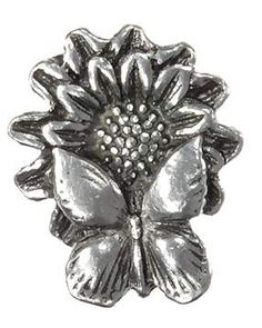 1 1/4 Inch Solid Pewter Butterfly on Flower Knob (Bright Pewter Finish)