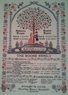 Reproduction Family Tree Sampler Genealogy Pedigree Custom Cross Stitched and Personalized for You