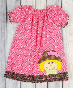 Look at this #zulilyfind! Pink Scarecrow Puff-Sleeve Dress - Infant, Toddler & Girls #zulilyfinds
