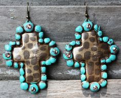 Holier Than Thou Cross Earrings in Cheetah and Antique Turquoise by Same Spirit  $29.95  http://www.giddyupglamouronline.com/catalog.php?item=5414
