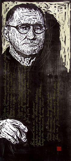 Bertolt Brecht (II) Woodcut on washi 2004 by Dirk Hagner. http://www.dirkhagnerstudio.com/ Tags: Linocut, Cut, Print, Linoleum, Lino, Carving, Block, Woodcut, Helen Elstone, Human, Portrait