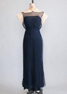Vintage 1930s Navy Chiffon Petal Sleeves Evening Dress | Raleigh Vintage