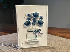 Stampin Up! Card, Flowers, Jar of Love Stamp Set, Colors: Whisper White, Dapper Denim, Marina Mist, Smoky Slate, Soft Sky (Water in Jar), Designer-Grusselemente, Classic Label Punch