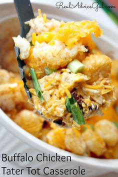 Buffalo Chicken Tater Tot Casserole Recipe. Easy to make and so tasty, everyone will love this!