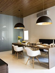 Black domes are pretty popular in contemporary homes Oversized Pendants: Shining A Spotlight On The Hot Design Trend. Its been ging on for a while in Europe, but still love it