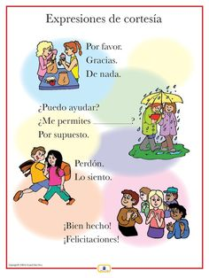 Expresiones de cortesia -- FREE to print  Online Spanish programs for children: professional and personal sonja@spanish-school-herradura.com