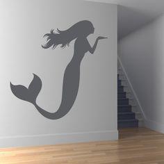 Mermaid Blowing a Kiss Bathroom Wall Stickers Wall Art Decal