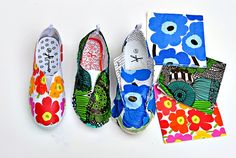It's Baaaaaack: A Dozen Modern Decoupage DIY Projects — Apartment Therapy Decoupage Shoes, Decoupage On Canvas, Napkin Decoupage, Decoupage Furniture, Painted Furniture, Furniture Design, Trash To Couture, Marimekko, Diy Projects Apartment