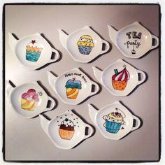 Piattini per bustine da te - ceramica dipinta a mano - cupcake - by nigutindor - idea regalo natale christmax
