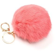 Fuzz Ball Fur Keychain ($7.50) ❤ liked on Polyvore featuring accessories, ring key chain, fur key chain, locking key ring, fur key ring and fob key chain