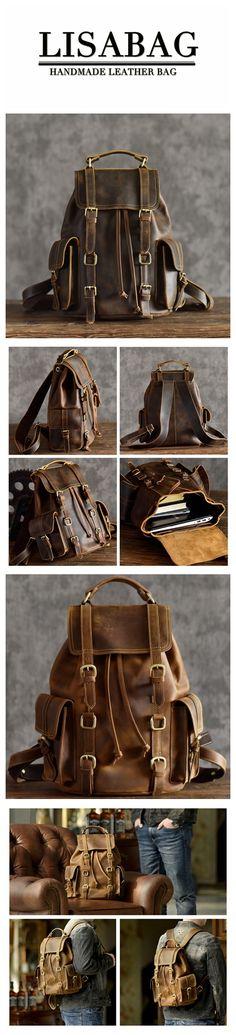c04049ac46 Vintage Leather Backpack Cool Hiking Rucksack Casual Leather Daypack in Dark  Coffee MT15 - Dark Coffee