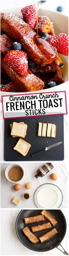 Cinnamon Crunch French Toast Sticks - traditional french toast sticks that have been coated in crunchy cereal. These are so so good! #frenchtoast #frenchtoaststicks #cereal | Littlespicejar.com