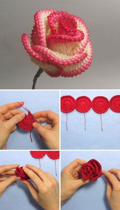 Easy Crochet Rose Flower Pattern is part of Crochet flowers - Roses are one of my favorite flowers ever I love making rose crochet flower, because they always look beautiful anywhere you use them Roses Au Crochet, Crochet Puff Flower, Crochet Flower Patterns, Crochet Motif, Crochet Designs, Crochet Flowers, Knitting Patterns, Pattern Flower, Crochet Bouquet