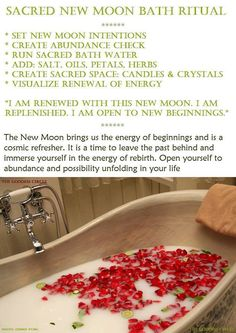 new moon ritual The New Moon is a time of beginnings. It is a time of embracing new projects, ideas, plans, thoughts, relationships and the changes we wish to invite into our lives. Rituals Set, New Moon Rituals, Full Moon Ritual, Spiritual Bath, Spiritual Cleansing, Spiritual Wellness, Moon Spells, Bath Recipes, Moon Magic