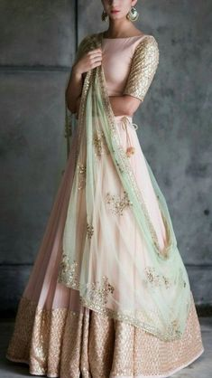 Peach And Mint Green Lehenga Blouse Indian Bridesmaid Outfit - Peach And Mint Green Lehenga Blouse Indian Bridesmaid Outfit Indian Designer Lengha Skirt Blush Peach Wedding Dress Summer Bridal Wear The Color Isnt Exactly Like The Original Pink Mint Gre Indian Bridal Fashion, Indian Wedding Outfits, Indian Outfits, Indian Engagement Outfit, Indian Reception Outfit, Indian Clothes, Indian Fashion Trends, Bridal Outfits, India Fashion