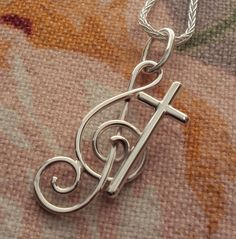 Cross Treble Clef Necklace Handcrafted Pendant Sterling Silver Make Music To The Lord, $48