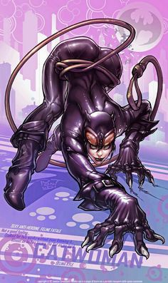 SFW full color ecchi MILF hentai cartoon porn art DC comics sexy slut Catwoman hunting herself some Batman cock with her fine looking booty in the air while she on the prowl in a super hero parody porn hentai illustration. Comic Book Characters, Comic Character, Comic Books Art, Comic Art, Marvel Vs, Marvel Dc Comics, Batman And Catwoman, Batgirl, Joker